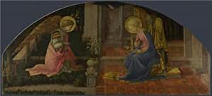Oil painting 'Fra Filippo Lippi-The Annunciation,about 1450-3' printing on Perfect effect Canvas , 18x40 inch / 46x101 cm ,the best Kids Room decor and Home gallery art and Gifts is this Beautiful Art Decorative Prints on Canvas