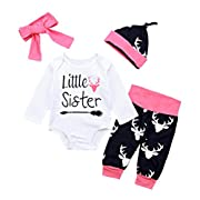 Winsummer Newborn Baby Boy Girl Cotton Little Brother/Sister Romper Bodysuit+Camouflage Pants+Hat Outfits Set (White#3, 6-12M)