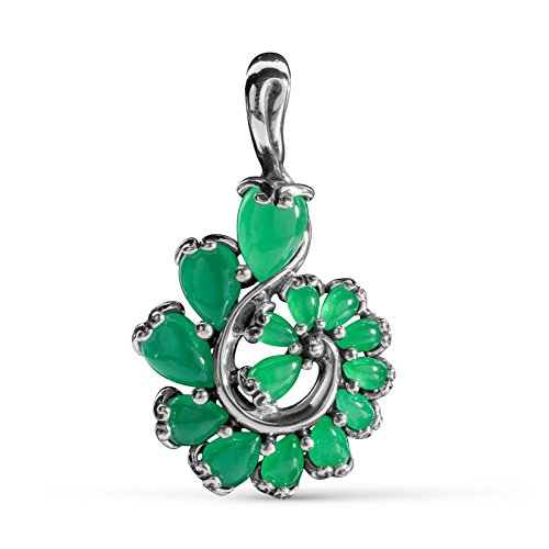 Carolyn Pollack Sterling Silver Green Jade Gemstone Cascading Swirl Pendant Enhancer