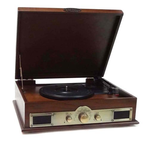 Pyle PTT30WD Bluetooth Vintage Classic Style Turntable Wireless Music Streaming, AM/FM Radio, USB Record Ability, AUX (3.5mm) Input by Pyle