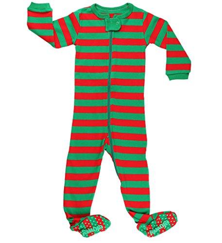 Elowel Striped Pajama Sleeper Set Red & Green 2 Toddler