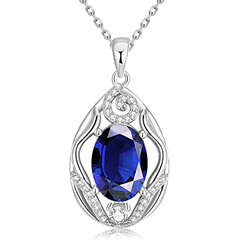 [SDLM Womens Excellent Oval-cut Rhinestone Gem Charm Teardrop Pendant Necklace(blue)] (Homemade Character Costumes Ideas)