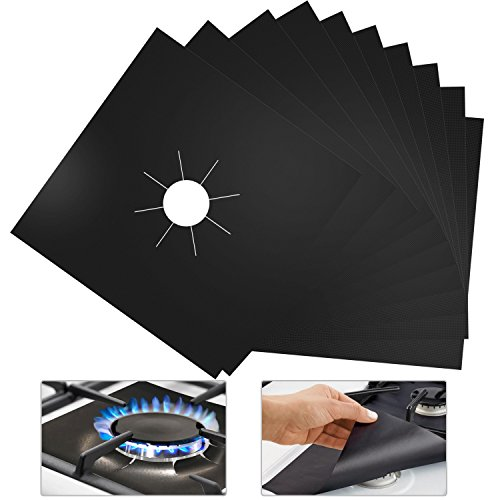 10 Pack Reusable Gas Stove Burner Covers Stove top Burner Liners Gas Range Protectors Non-stick Heat Resistant 10.6 inches x 10.6 inches Double Thickness 0.2mm (Black)