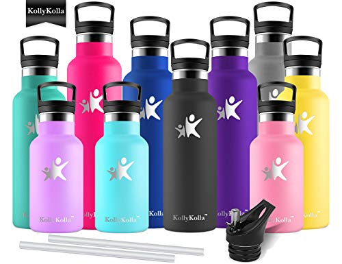 KollyKolla Vacuum Insulated Water Bottle Metal Water Bottles with Straw & Filter Hot & Cold Drinks Bottle Stainless Steel Thermoflask Leakproof Kids Sports Bottle(600ml Fashion Black)