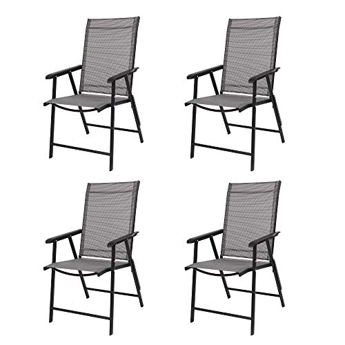 VINGLI Upgraded Set of 4 Folding Chairs with Arms, Portable Patio Chairs for Outdoor & Indoor, Sling Back Chairs for Lawn, Pool, Courtyard, Balcony & Garden