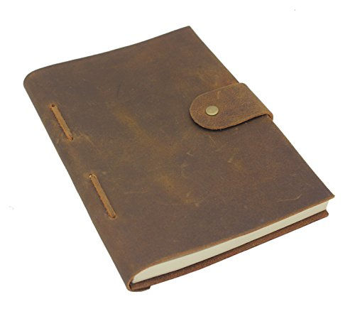 Handmade Crazy Horse Leather Journal – Vintage Style – Rustic, Unique Color & Texture – 8.25 x 6 inches - 280 Pages – Great Organizer, Diary or Journal – Blank, Cream Colored Paper