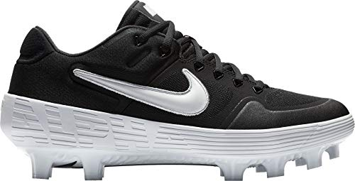 Nike Men's Alpha Huarache Elite 2 Baseball Cleats (Black/White, M5W65)