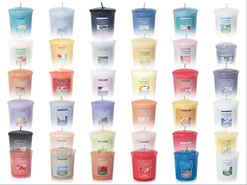Yankee Candle Spring and Summer Votive Samplers Assortment of 12 in Storage Container Gift Box with Bonus Organza Sachet Bag Bundle