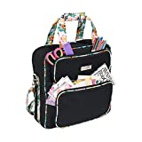Everything Mary Deluxe Black & Floral Scrapbook Carrying Storage Tote - Compatible with Standard IRIS Boxes - Portable Travel Craft Bag with Handle & Shoulder Strap for Pages, Paper