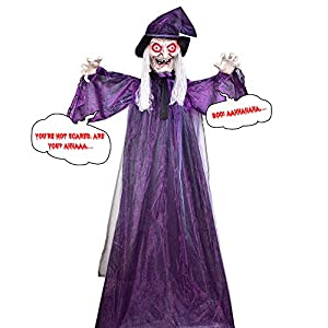 Halloween Hanging Witch – Hanging Witch for Halloween Decoration, 72 inches Hanging Animated Talking Witch, Perfect Prop to Enjoy Halloween Party Haunted House Yard Scary Prop with Sound for Decor