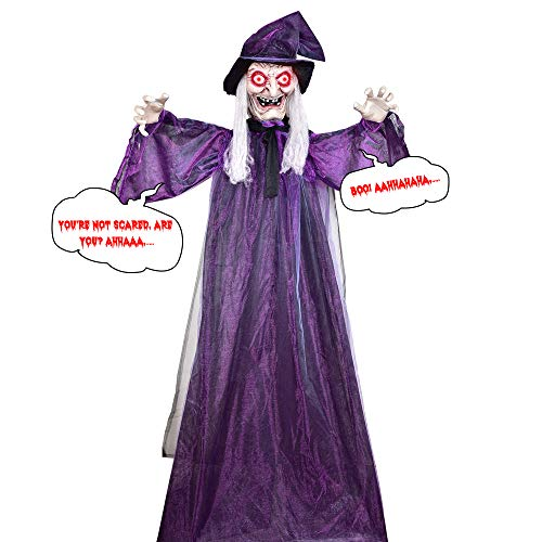 Halloween Hanging Witch - Hanging Witch for Halloween Decoration, 72 inches Hanging Animated Talking Witch, Perfect Prop to Enjoy Halloween Party Haunted House Yard Scary Prop with Sound for Decor by VIVREAL