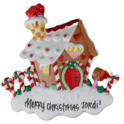 Candy Cane House Personalized Ornament - (Unique Christmas Tree Ornament - Classic Decor for A Holiday Party - Custom Decorations for Family Kids Baby Military Sports Or Pets) ()