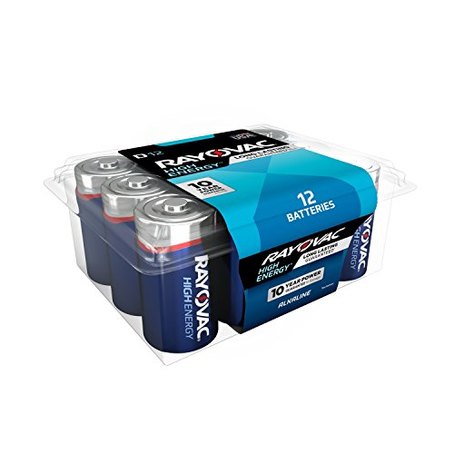 RAYOVAC D 12-Pack HIGH ENERGY Alkaline Batteries, 813-12PPK