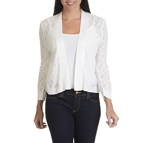 White Knit Bleached (89th and Madison Womens 3/4 Sleeve Pointelle Knit Shrug Cardigan, Bleached White, Large)