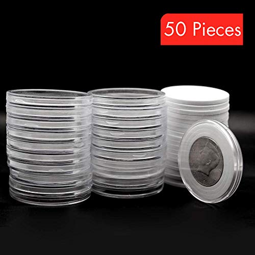 50 Pcs Clear Plastic Coin Capsules, Coin Collection Case of 5 Size with Adjustable Gasket for Coin Collection American Silver Eagle Liberty Coin &JFK Half Dolla - Type-V [20/25/30/35/40mm] from Jackyxcm