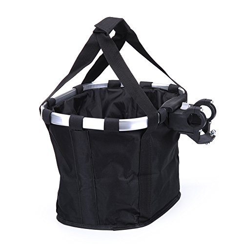Pet Dog Bike Basket & Carrier Bag- Foldable Detachable Pet Travel Bicycle Basket - Small Animal Dog Cat Rabbit Bike Ride Basket Carrier (Black)