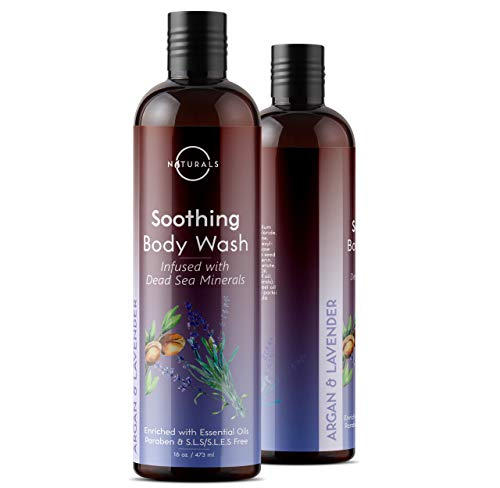 O Naturals Soothing Argan & Lavender Natural Body Wash. (16 oz.) Hydrates, Softens Skin & Body. Enriched w/Dead Sea Minerals, Essential Oils & Vitamin E. Soap for Women & Men. Paraben & SLS Free