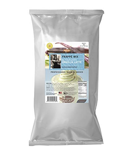 MOCAFE Frappe Vanilla Latte No Sugar Added Ice Blended Coffee, 3-Pound Bag Instant Frappe Mix, Coffee House Style Blended Drink Used in Coffee Shops