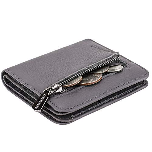 (Itslife Women's Rfid Blocking Small Compact Bifold Leather Pocket Wallet Ladies Mini Purse with id Window (Natural Dark Grey))