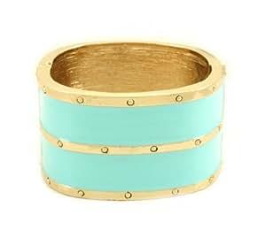 Poshlocket - Lucy Wide Enamel Bracelet in Turquoise