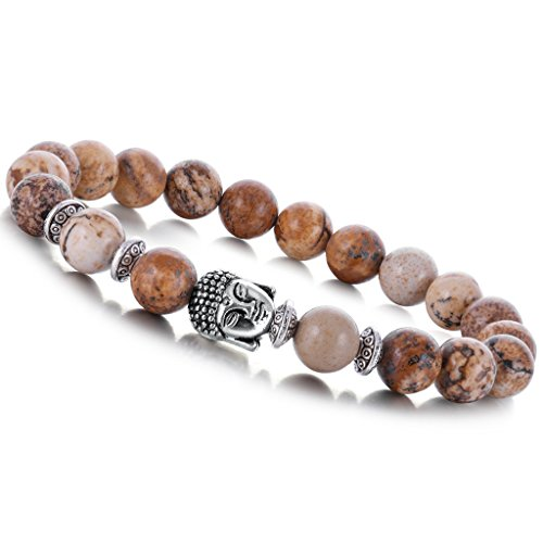 Joya Gift Natural Picture Jasper 8MM Round Beads Buddha head Gemstone Chakra Bracelet for Women Charms Men Jewelry