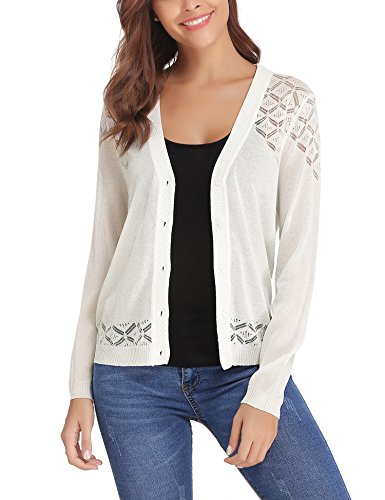 iClosam Women Knitted Long Sleeve Crochet Button Down Cardigan Sweater White