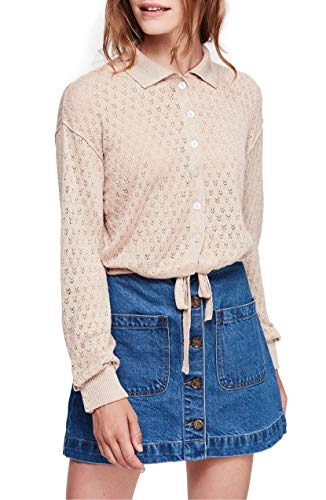 Free People Betty Tie Front Sweater, Size X-Small - Beige from Free People