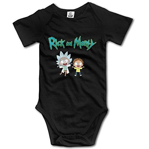 - Baby Boys Girls Short Sleeve Rick And Morty Funny Bobysuit Onesie 6 M Black