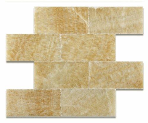 Honey Onyx 3 X 6 Polished Premium Brick / Subway Tile - Box of 5 sq. ft. by Oracle Tile & Stone