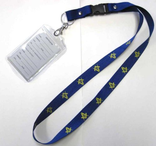SQUARE & COMPASS MASONIC FREEMASONARY BRAND NEW MASONIC NECK LANYARD - BLUE, WITH GOLD SQUARES & COMPASSES ON COLLAR - WITH an I.D. HOLDER - from Hibiscus Express ()