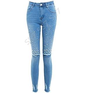 SS7 Femmes perle Slim Fit Jeans skinny genou RIP JEANS TAILLE 10 12 14 6 8 273d0cfbd2d5