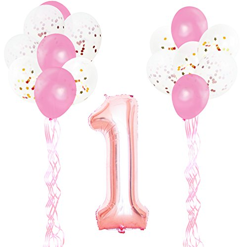 KUNGYO 1ST Birthday Party Decorations Kit-Giant Rose Gold Number 1 Foil Balloon,Pink Ribbons, Latex Confetti Balloons, 18 Pieces Party Supplies Set for Girl Birthday Anniversary Ceremony