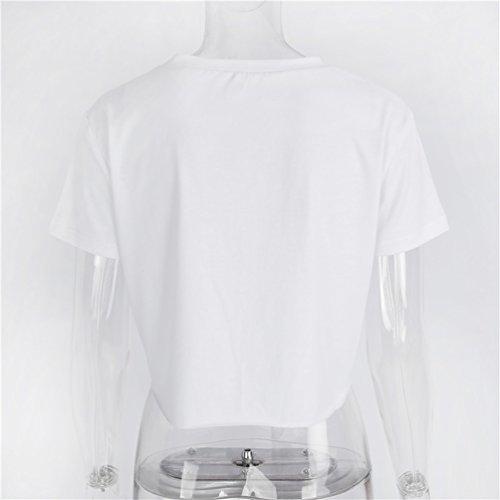NiSeng Mujeres Casual Manga Corta Corto Camiseta Impreso Lazada Crop Tops Camisa Blanco
