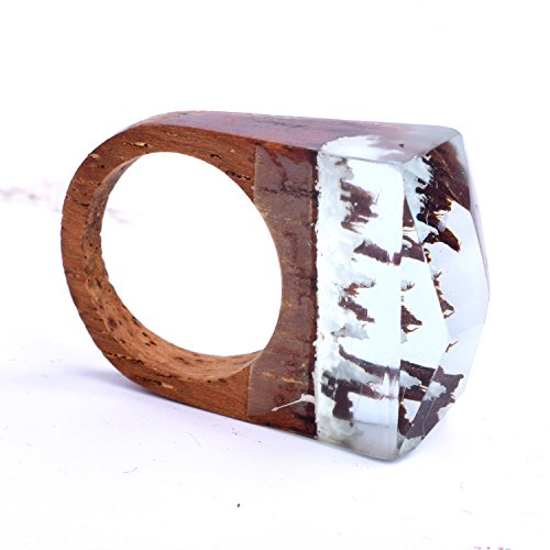 Heyou Love Handmade Wood Resin Ring With Blue Sky Landscape Inside Jewelry by Heyou Love (Image #2)