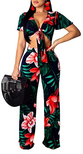 Women's Two Piece Sets Floral Tie Front Short Sleeve Crop Tops Long Pants Jumpsuits Dark Blue