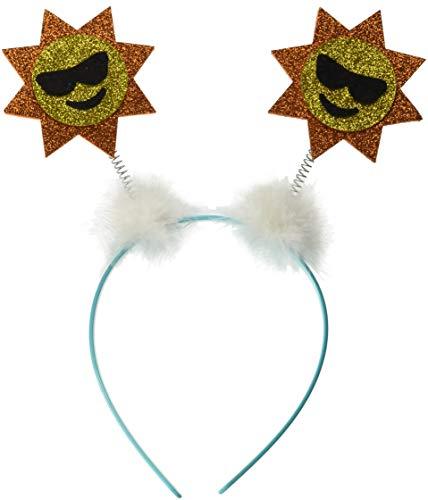 Amscan Headboppers Sunshine Emoji  with Cloud Puffs and Sky Blue Headband, Universal Size, Light Blue, 1 ()