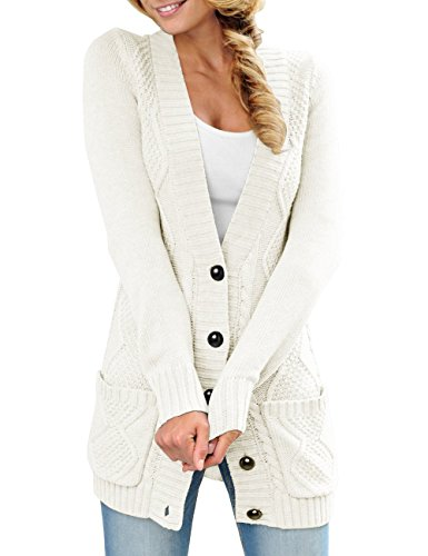 Niitawm Womens Open Front Cardigans Sweaters Button Down Long Sleeve Knit Cable Pockets Outwear Coats (M,White) by Niitawm