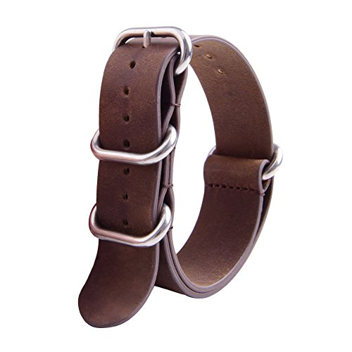 Ritche Genuine Leather NATO strap 20mm Rich Brown Replacement timex weekender watch band Photo #3