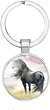 Personalised Initial and Birthstone Horse Keyring Keychain