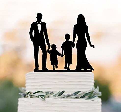 Bride And Groom Wedding Cake Topper With Child Family Silhouette Wedding Cake Topper With Two Boy Wedding Cake Topper Birthday Gift Amazon Co Uk Kitchen Home