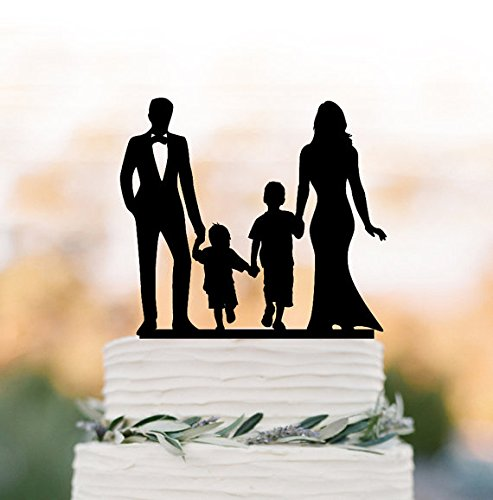 bride and groom Wedding Cake topper with child, family silhouette wedding cake topper with two boy wedding cake topper birthday gift