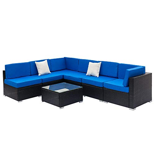 Cypress Shop Outdoor Wicker PE Rattan Sectional Sofa Furniture Set Soft Cushioned Patio Garden Seat Sofa Corner Sofa Single Pillow Coffee Tea Table Glass Top Dining Talking Seats Home Furniture