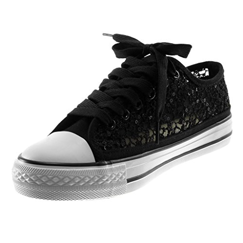 Tennis Plat Baskets Souple Sequins Angkorly 3 Chic Résille Talon Brodé Femme Chaussure cm Mode Sporty XTxAnp7