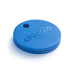 CHIPOLO PLUS (GEN 2) - Bluetooth Tracking Device to Easily Find Your Lost Keys, Wallet, Phone, Bag, Backpack, Etc. Loudest Speaker Alert on the Market (100 dB). Water Resistant. (Blue)
