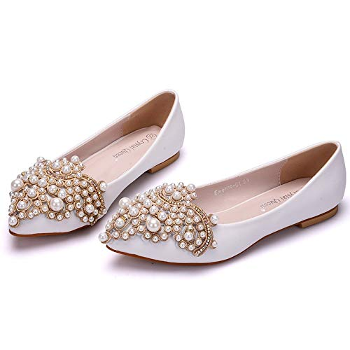 De Toe Ballerines Appartements 01d La Robe Plus Taille White Mariage Femmes Pointu Fête Flower ager Chaussures Ele 4FqzBz