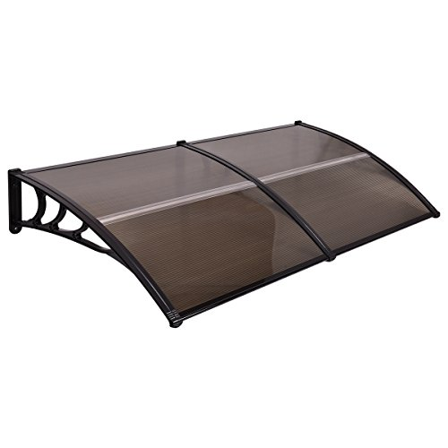 ndow Awning Modern Polycarbonate Cover Front Door Outdoor Patio Canopy Sun shetter 3 Colors (Brown with black edge) (Patio Canopy Covers)