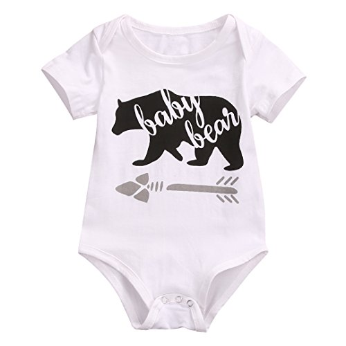 Infant Baby Boys Girls Bear Pattern Short Sleeve Romper Bodysuit Playsuit Outfit (0-3 M, -