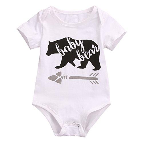 Infant Baby Boys Girls Bear Pattern Short Sleeve Romper Bodysuit Playsuit Outfit (Boys Bear)