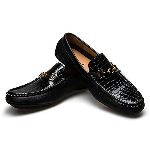 - JITAI Men's Driving Penny Loafers Suede Driver Moccasins Slip On Flats Casual Dress Boat Shoes (10.5 (D) M US, Black)
