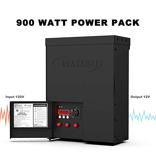 Malibu 900 Watt Power Pack with Sensor Photo Cell and Weather Shield for Low Voltage Landscape Lighting Spotlight Outdoor Transformer 120V Input 12V Output - 900w Transformer